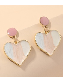 Fashion White Metal Dripping Contrast Color Heart Earrings