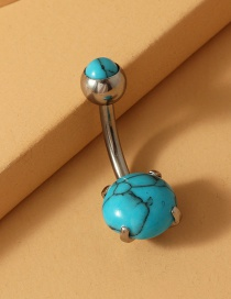 Fashion Round Blue Stainless Steel Turquoise Alloy Resin Belly Button