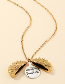 Fashion Gold Color Openable Sunflower Double Lettering Necklace