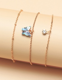 Fashion Gold Color Chain Abalone Shell Butterfly Diamond Multi-layer Anklet