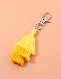 Fashion Goose Yellow Multilayer Wire Rope Tassel Contrast Color Alloy Keychain