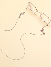 Fashion Silver Butterfly Eye Chain Pearl U-shaped Sunglass Chain
