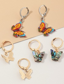 Fashion Color Mixing Butterfly Alloy Abalone Shell Earring Set