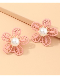 Fashion Pink Flower Pearl Dropping Hollow Alloy Earrings