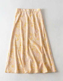 Fashion Yellow Floral Print Loose Skirt