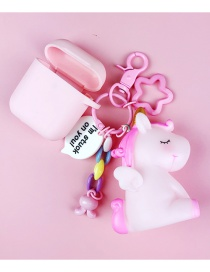 Fashion Pink + Earphone Bag Rainbow Horse Unicorn Wireless Headphone Silicone Case