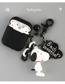 Fashion Black Ear + Black Earphone Cover Snoopy Charlie Accommodates Apple Wireless Bluetooth Headset Shell Silicone Case