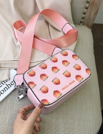 Fashion Peach Powder One Shoulder Crossbody Bag With Fruit Print Wide Strap