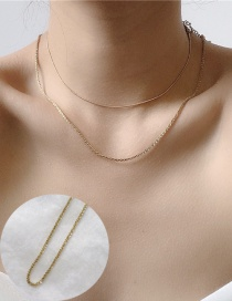 Fashion Golden Twisted Stacked Metal Chain Necklace