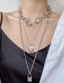 Fashion Silver Thick Chain Lock Alloy Multi-layer Long Necklace