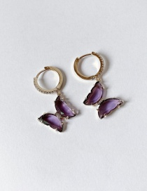 Fashion Earring Purple Glass Butterfly Gold Plated Necklace Earrings Ring