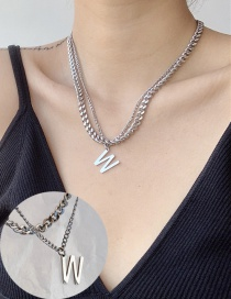 Fashion Silver Stainless Steel Chain Alphabet Double Necklace