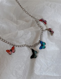 Fashion Multicolor Butterfly Stainless Steel Chain Oil Drop Butterfly Necklace