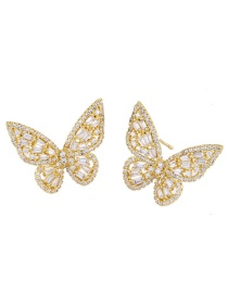 Fashion Golden Hollow Zircon Butterfly Alloy Earrings