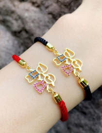 Fashion Red Rope Gold Copper And Zircon Boys And Girls Braided Rope Bracelet