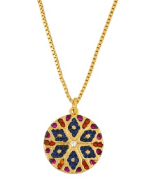 Fashion Round Geometric Striped Snowflake Copper Inlaid Zircon Necklace