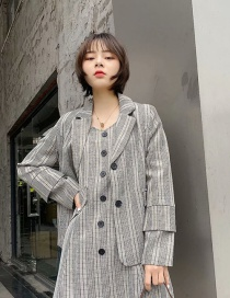 Fashion Black And White Checked Double-sleeved Loose Blazer