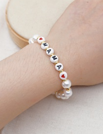 Fashion White Natural Freshwater Pearl Alphabet Gold Bead Bracelet