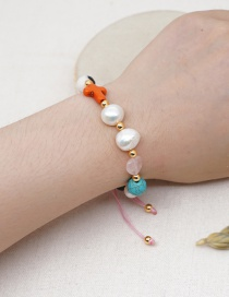 Fashion Color Mixing Cross Emperor Stone Natural Freshwater Pearl Gold Bead Bracelet