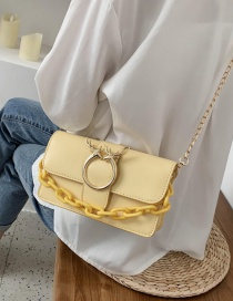 Fashion Yellow Cross Section Vertical And Horizontal Acrylic Chain Shoulder Bag