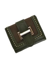 Fashion Green Studded Two-fold Buckle Multi-card Matte Wallet