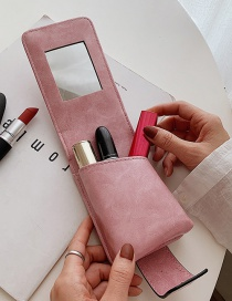 Fashion Pink Lipstick Bag With Makeup Mirror Snap