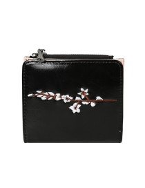 Fashion Black Flower Embroidery 2 Fold Multi-function Wallet