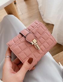 Fashion Pink 3 Fold Stone Pattern Multifunction Wallet