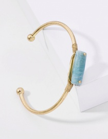 Fashion Blue Green Gold Stone Wire Tie Opening Alloy Bracelet