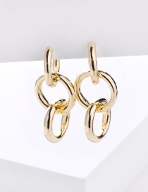 Fashion Golden Circle Chain Alloy Hollow Earrings