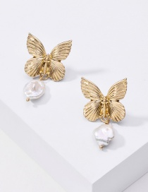 Fashion Golden Butterfly Natural Pearl Irregular Earrings