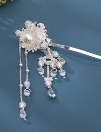 Fashion Silver Flower Pearl Crystal Fringe Hollow Hairpin