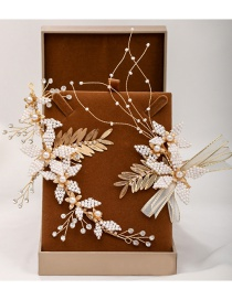 Fashion Golden Handmade Crystal Pearl Leaf Hairpin Set