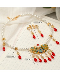Fashion White Handmade Pearl Crystal Alloy Dripping Tassel Necklace Ear Clip Set