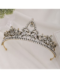 Fashion Golden Electroplated Crown And Diamond Resin Headband