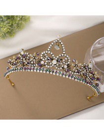 Fashion Golden Electroplated Crown And Diamond Flower Resin Alloy Headband