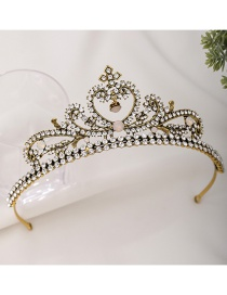 Fashion Golden Electroplated Crown Diamond-set Resin Alloy Hollow Headband