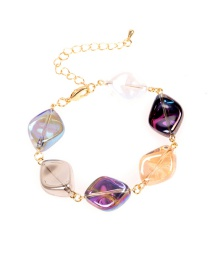 Fashion Color Mixing Crystal Alloy Resin Geometric Bracelet