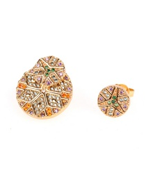 Fashion Golden Back Hanging Size With Diamond Earrings