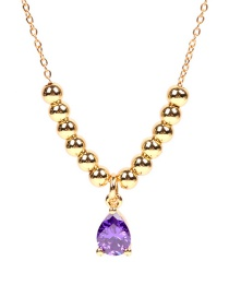 Fashion Purple Micro-set Drop-shaped Zircon Round Bead Stainless Steel Necklace