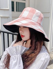 Fashion Pink Folded Fisherman Hat With Plaid Embroidery Thread