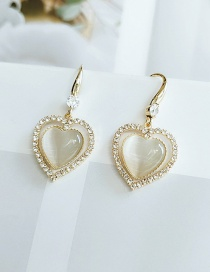 Fashion Yellow Alloy Diamond Love Heart Earrings