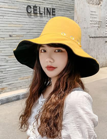 Fashion Yellow + Black Daisy Fisherman Hat With Big Edge Embroidery On Both Sides