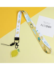 Fashion Lemon Mobile Phone Lanyard With Printed Animal Broadband Braid