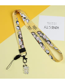 Fashion Yellow Snoopy Mobile Phone Lanyard With Printed Animal Broadband Braid