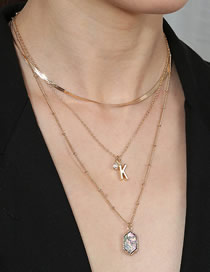 Fashion Golden Detachable Stacking Necklace With Letter Geometry