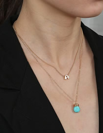 Fashion Golden Letter With Diamond Natural Turquoise Water Drop Double Necklace