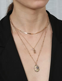 Fashion Golden Diamond Freshwater Pearl Shell Multilayer Necklace