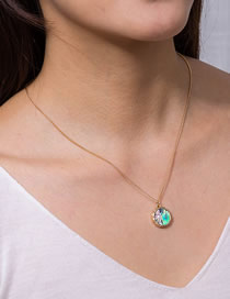 Fashion Golden Natural Abalone Shell Round Pendant Alloy Necklace