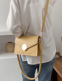 Fashion Yellow Pu Magnetic Buckle Synthetic Leather Embroidery Crossbody Shoulder Bag